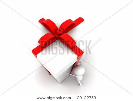 3D Man Moving Big Ribbon Wraped Gift Concept