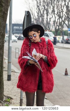 Fashionable Woman Outside Emporio Armani Fashion Show During Milan Fashion Week 2016