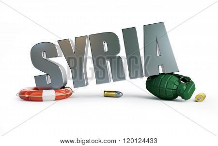 War Syriya 3D Illustrations On A White Background