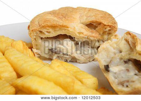 chicken & mushroom pie with chips.