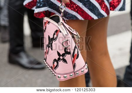 Detail Of Bag Outside Emporio Armani Fashion Show During Milan Fashion Week 2016