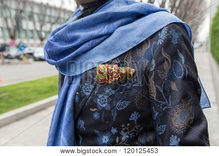 Detail Of A Fashionable Man Outside Emporio Armani Fashion Show During Milan Fashion Week 2016