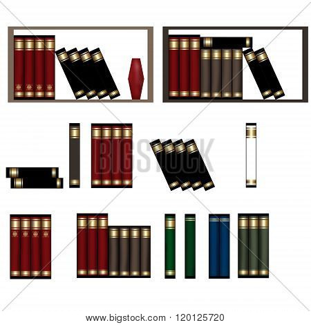 Row Of Books, Piles Of Books Isolated Illustration