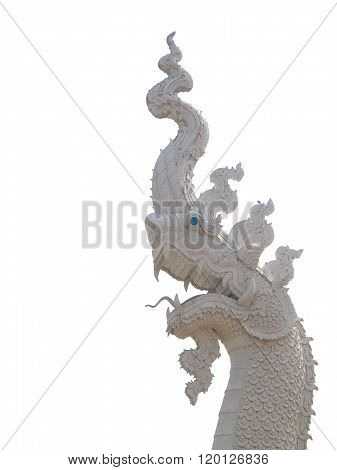 White King Of Naga Statue Isolated White Background
