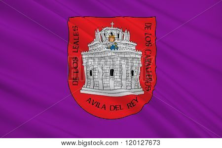 Flag Of Avila Is A Spanish Town Located In The Autonomous Community Of Castile And Leon, Spain