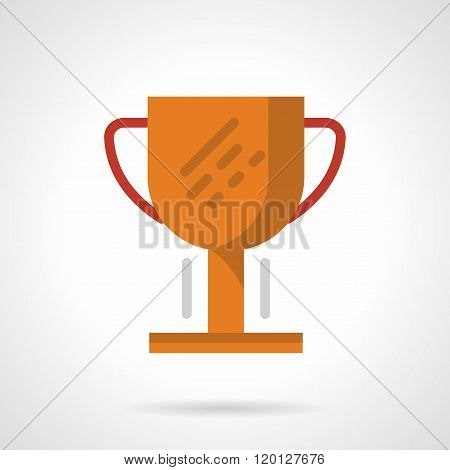 Golden cup flat color design vector icon