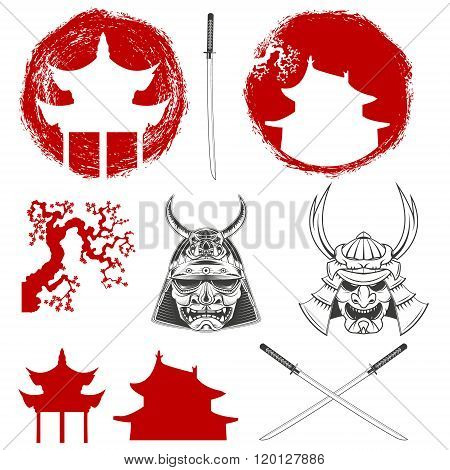 Samurai. Vector Design Elements Set