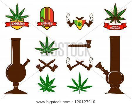 Set Of Cannabis Leafs, Bongs