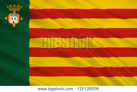 Flag Of Castellon De La Plana Is The Capital City Of The Province Of Castello, In The Valencian Comm