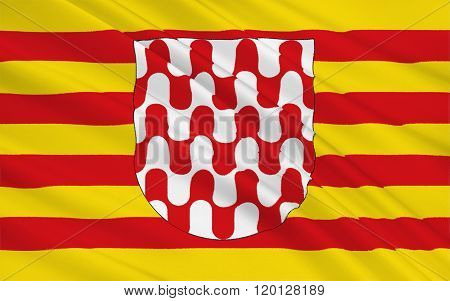 Flag Of Girona Is A City In The Northeast Of The Autonomous Community Of Catalonia, Spain