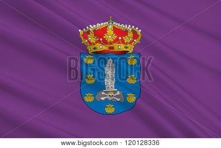 Flag Of La Corunna Is The City Provincial Capital Of The Province La Corunna, Spain