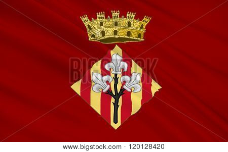 Flag Of Lleida Is A City In The West Of Catalonia, Spain
