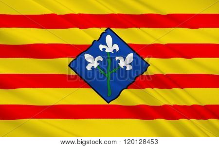 Flag Of The Province Of Lleida Is One Of The Four Provinces Of Catalonia, Spain