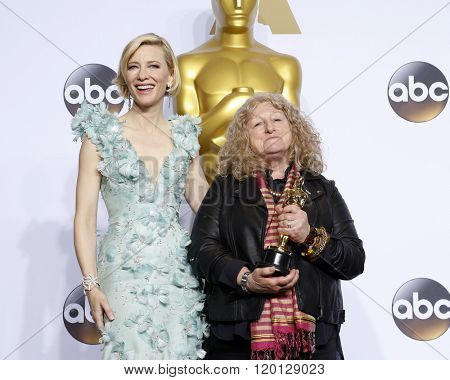LOS ANGELES - FEB 28:  Cate Blanchett, Jenny Beaven at the 88th Annual Academy Awards - Press Room at the Dolby Theater on February 28, 2016 in Los Angeles, CA