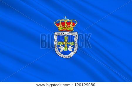Flag Of Oviedo - Is The Capital City Of The Principality Of Asturias, Spain