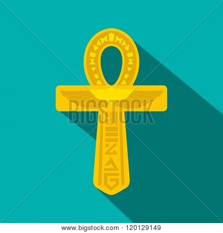 Gold Ankh Egypt icon, flat style