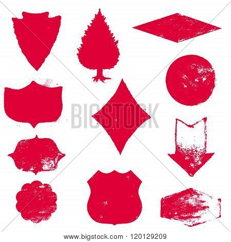 Set Of Stamps. Red Stamps. Grunge Rubber Texture Stamp. Textured Stamp