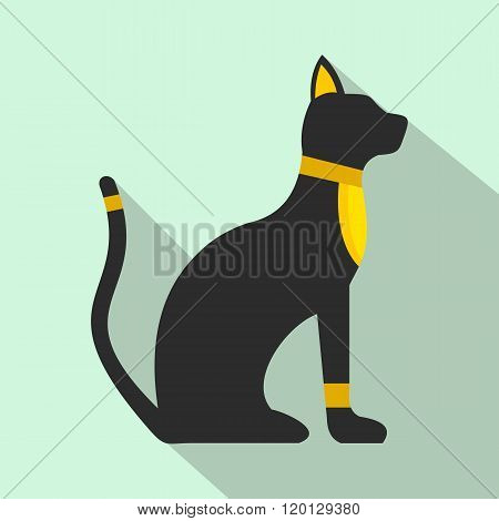 Black Egyptian cat icon, flat style