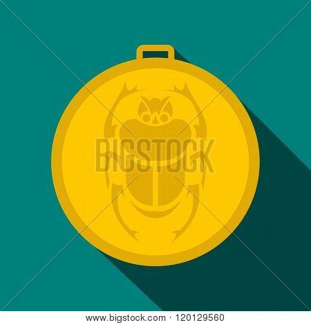 Gold scarab amulet icon, flat style