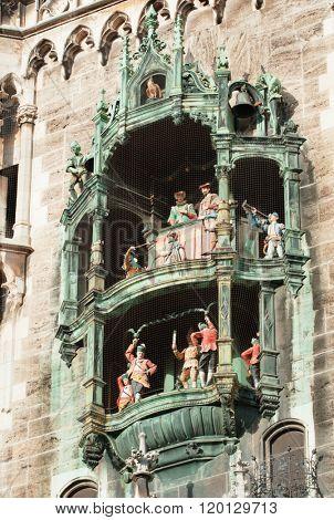 Famous Rathaus-Glockenspiel (Clock Tower) in Marienplatz in Munich.