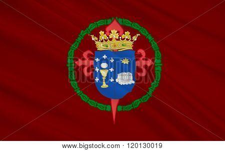 Flag Of Santiago De Compostel Is The Capital Of The Autonomous Community Of Galicia, Spain