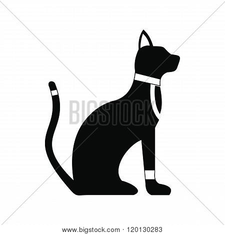 Black Egyptian cat icon, simple style