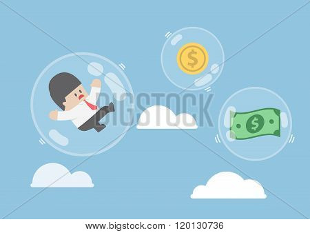 Businessman And Dollar Money Floating In Bubbles