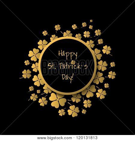 Happy Patrick`s Day Gold And Black Greeting Card.