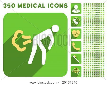 Fart Icon and Medical Longshadow Icon Set