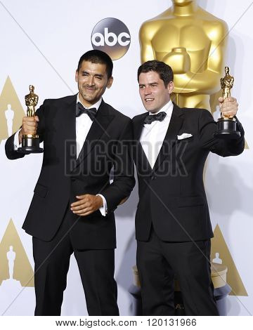 LOS ANGELES - FEB 28:  Gabriel Osorio Vargas, Pato Escala Pierart at the 88th Annual Academy Awards - Press Room at the Dolby Theater on February 28, 2016 in Los Angeles, CA
