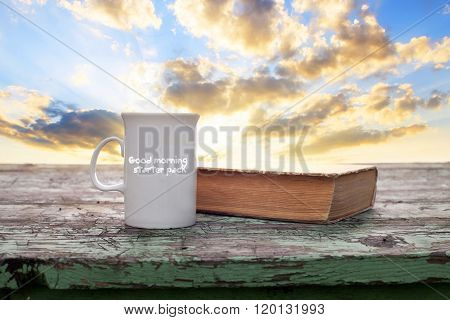 good morning with tea and book conceptual image with text added