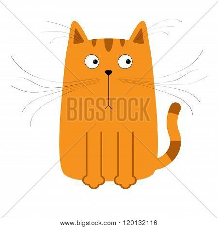 Cute Red Orange Cartoon Cat. Big Mustache Whisker. Funny Character. Flat Design. White Background. I