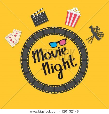 Film Strip Round Circle Frame. 3D Glasses, Popcorn, Clapper Board, Ticket, Projector Icon Set. Movie