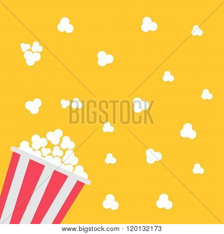 Popcorn Bag. Cinema Icon In Flat Design Style.