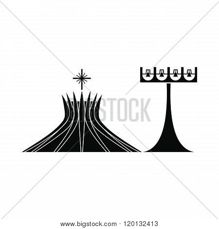 Metropolitan Cathedral in Brasil icon, simple style
