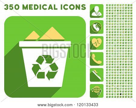 Full Recycle Bin Icon and Medical Longshadow Icon Set