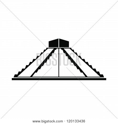 Mayan pyramid in Yucatan, Mexico icon, simple style