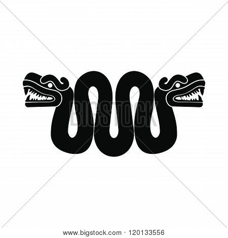 Aztec snake with two heads icon, simple style