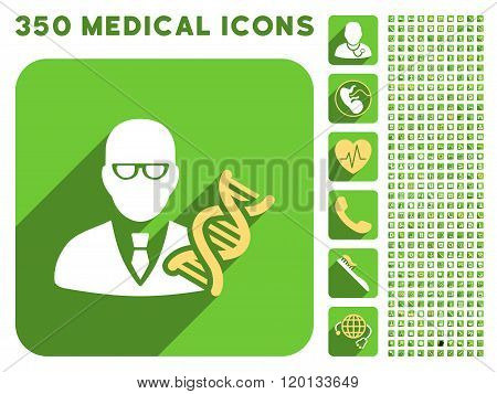 Genetic Engineer Icon and Medical Longshadow Icon Set