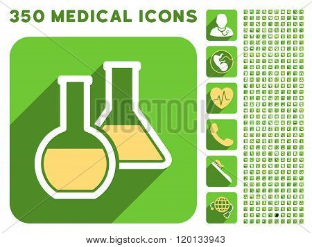 Glass Flasks Icon and Medical Longshadow Icon Set