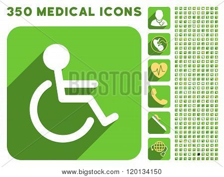 Handicapped Icon and Medical Longshadow Icon Set