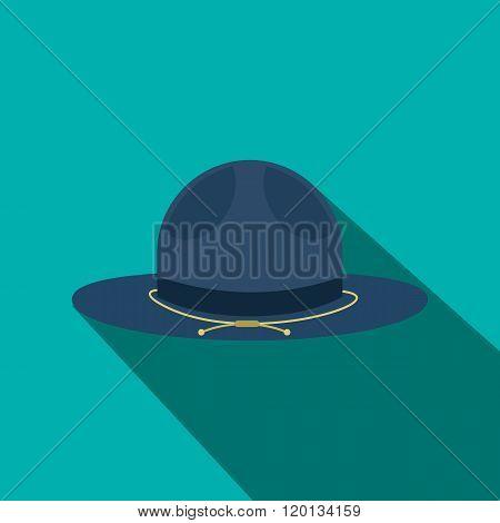 Blue cowboy hat icon, flat style