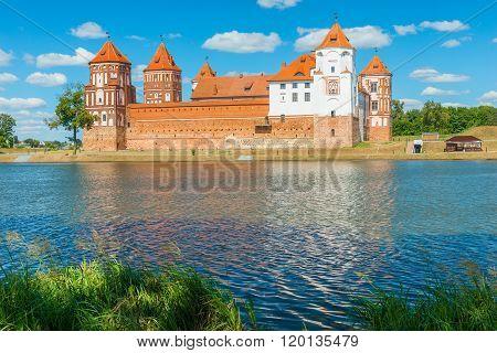 Beautiful Castle Mir And Lake Mir, Belarus