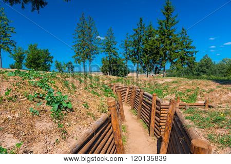 Fortified Trench In A Field For Combat Operations