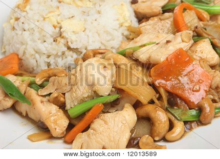 Chinese chicken with cashew and fried rice