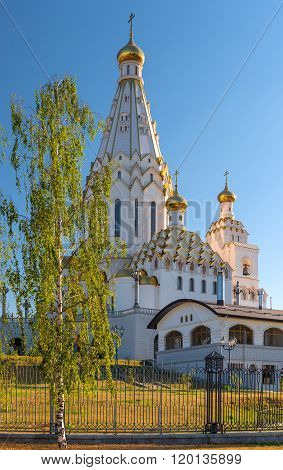 White All Saints Church With Golden Domes In Minsk, Belarus