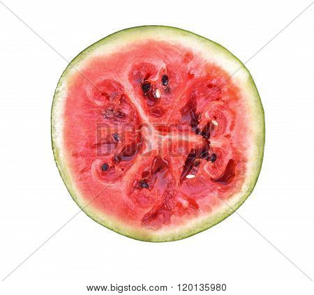Red Rot Watermelon Cut Into Pieces, Placed On A White Background