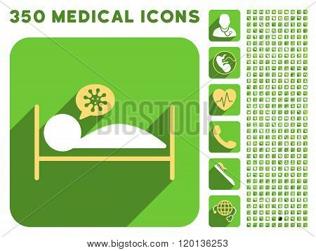 Infected Patient Bed Flat Icon And Medical Longshadow Flat Icons