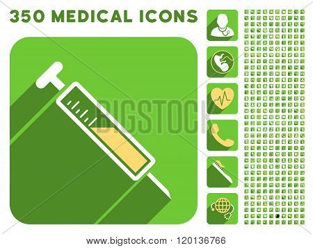 Injection Icon and Medical Longshadow Icon Set