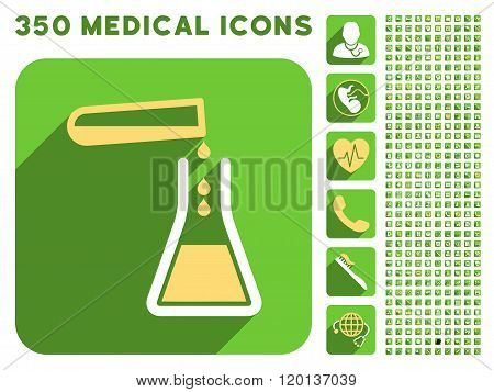 Liquid Transfusion Flat Icon And Medical Longshadow Flat Icons